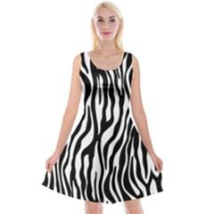 Zebra Stripes Pattern Traditional Colors Black White Reversible Velvet Sleeveless Dress