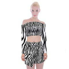 Zebra Stripes Pattern Traditional Colors Black White Off Shoulder Top With Skirt Set
