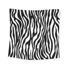 Zebra Stripes Pattern Traditional Colors Black White Square Tapestry (small)