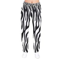 Zebra Stripes Pattern Traditional Colors Black White Drawstring Pants