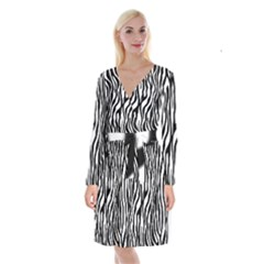 Zebra Stripes Pattern Traditional Colors Black White Long Sleeve Velvet Front Wrap Dress