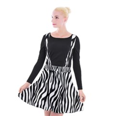 Zebra Stripes Pattern Traditional Colors Black White Suspender Skater Skirt