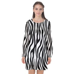 Zebra Stripes Pattern Traditional Colors Black White Long Sleeve Chiffon Shift Dress