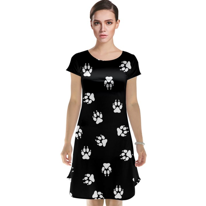 Footprints Dog White Black Cap Sleeve Nightdress