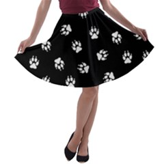 Footprints Dog White Black A-line Skater Skirt