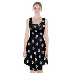Footprints Dog White Black Racerback Midi Dress