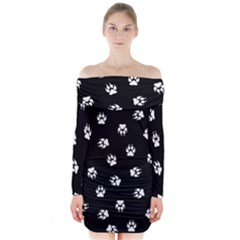 Footprints Dog White Black Long Sleeve Off Shoulder Dress