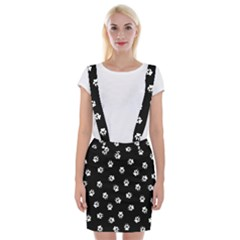 Footprints Dog White Black Braces Suspender Skirt