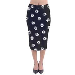 Footprints Dog White Black Velvet Midi Pencil Skirt