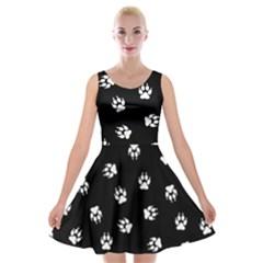 Footprints Dog White Black Velvet Skater Dress