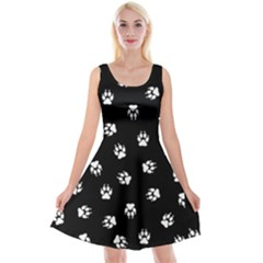 Footprints Dog White Black Reversible Velvet Sleeveless Dress