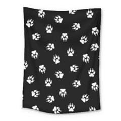Footprints Dog White Black Medium Tapestry