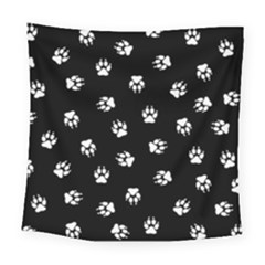 Footprints Dog White Black Square Tapestry (large)