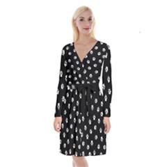 Footprints Dog White Black Long Sleeve Velvet Front Wrap Dress