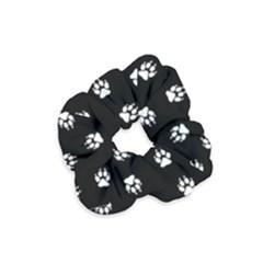 Footprints Dog White Black Velvet Scrunchie