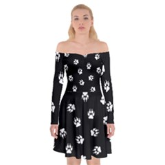 Footprints Dog White Black Off Shoulder Skater Dress