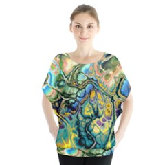 Flower Power Fractal Batik Teal Yellow Blue Salmon Blouse