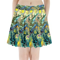 Flower Power Fractal Batik Teal Yellow Blue Salmon Pleated Mini Skirt