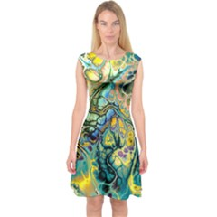 Flower Power Fractal Batik Teal Yellow Blue Salmon Capsleeve Midi Dress