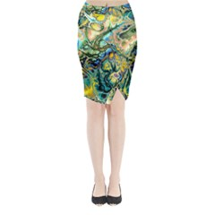 Flower Power Fractal Batik Teal Yellow Blue Salmon Midi Wrap Pencil Skirt