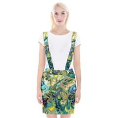 Flower Power Fractal Batik Teal Yellow Blue Salmon Braces Suspender Skirt