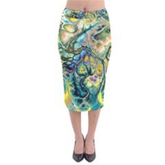 Flower Power Fractal Batik Teal Yellow Blue Salmon Velvet Midi Pencil Skirt