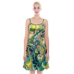 Flower Power Fractal Batik Teal Yellow Blue Salmon Spaghetti Strap Velvet Dress