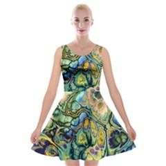 Flower Power Fractal Batik Teal Yellow Blue Salmon Velvet Skater Dress
