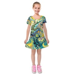 Flower Power Fractal Batik Teal Yellow Blue Salmon Kids  Short Sleeve Velvet Dress