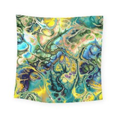 Flower Power Fractal Batik Teal Yellow Blue Salmon Square Tapestry (small)