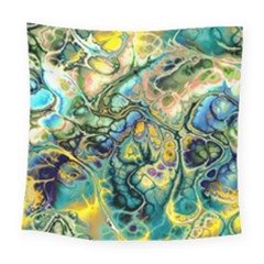 Flower Power Fractal Batik Teal Yellow Blue Salmon Square Tapestry (large)