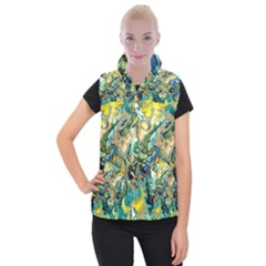 Flower Power Fractal Batik Teal Yellow Blue Salmon Women s Button Up Puffer Vest