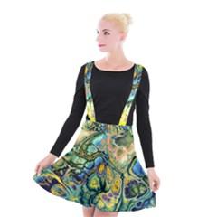 Flower Power Fractal Batik Teal Yellow Blue Salmon Suspender Skater Skirt