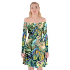 Flower Power Fractal Batik Teal Yellow Blue Salmon Off Shoulder Skater Dress