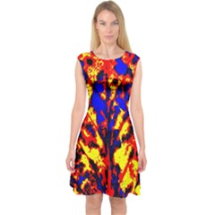 Fire Tree Pop Art Capsleeve Midi Dress