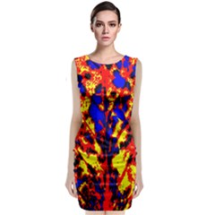 Fire Tree Pop Art Sleeveless Velvet Midi Dress