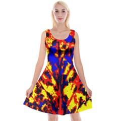 Fire Tree Pop Art Reversible Velvet Sleeveless Dress