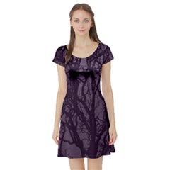 Purple Branches Short Sleeve Skater Dress