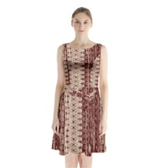 Wrinkly Batik Pattern Brown Beige Sleeveless Waist Tie Chiffon Dress