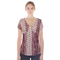 Wrinkly Batik Pattern Brown Beige Short Sleeve Front Detail Top