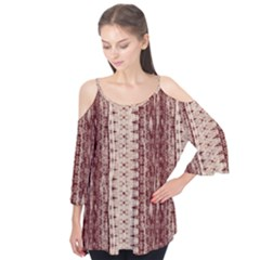 Wrinkly Batik Pattern Brown Beige Flutter Tees