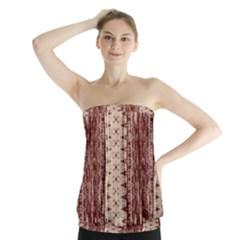 Wrinkly Batik Pattern Brown Beige Strapless Top