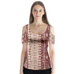 Wrinkly Batik Pattern Brown Beige Butterfly Sleeve Cutout Tee
