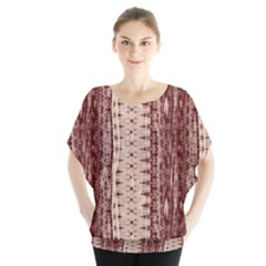 Wrinkly Batik Pattern Brown Beige Blouse