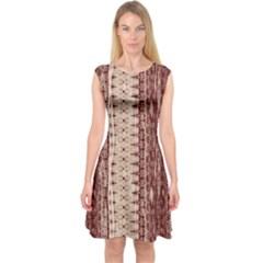Wrinkly Batik Pattern Brown Beige Capsleeve Midi Dress