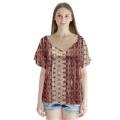 Wrinkly Batik Pattern Brown Beige Flutter Sleeve Top