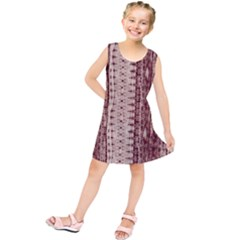 Wrinkly Batik Pattern Brown Beige Kids  Tunic Dress