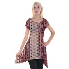 Wrinkly Batik Pattern Brown Beige Short Sleeve Side Drop Tunic