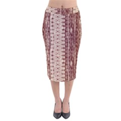 Wrinkly Batik Pattern Brown Beige Velvet Midi Pencil Skirt