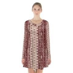 Wrinkly Batik Pattern Brown Beige Long Sleeve Velvet V Neck Dress